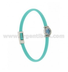 TURQUOISE RUBBER BRACELET WITH ROUND APPLICATION IN AG RHODIUM TIT 925 ‰, ZIRCONS AND HYDROTHERMAL STONES VARIOUS COLORS