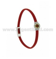 RED RUBBER BRACELET WITH ROUND APPLICATION IN AG RHODIUM TIT 925 ‰, ZIRCONIA AND HYDROTHERMAL STONES VARIOUS COLORS