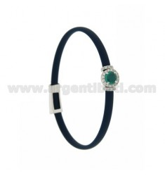 BRACELET IN BLUE RUBBER WITH ROUND APPLICATION IN AG RHODIUM TIT 925 ‰, ZIRCONS AND HYDROTHERMAL STONES VARIOUS COLORS