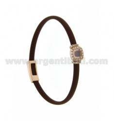 BRACELET IN BROWN RUBBER WITH SQUARE APPLICATION IN AG ROSE GOLD PLATED TIT 925 ‰, ZIRCONS AND HYDROTHERMAL STONES VARIOUS COLOR