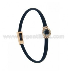 BRACELET IN BLUE RUBBER WITH SQUARE APPLICATION IN AG ROSE GOLD PLATED TIT 925 ‰, ZIRCONS AND HYDROTHERMAL STONES VARIOUS COLORS