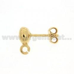 Ein Kugelgelenk.Ohrringe 6 mm zerkleinert und Angriff Trikot Silber vergoldet 925
