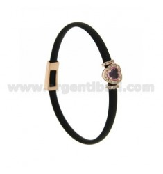 BRACELET IN BLACK RUBBER WITH HEART APPLICATION IN AG ROSE GOLD PLATED TIT 925 ‰, ZIRCONS AND HYDROTHERMAL STONES VARIOUS COLORS