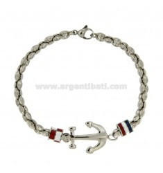 STEEL BRACELET WITH FLAGS AND STILL WATER GLAZED