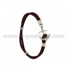 ROPE BRACELET WITH BORDEAUX CLOSE IN THE FORM OF A STEEL ANCHOR