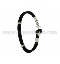 ROPE BRACELET WITH BLACK STEEL IN THE SHAPE OF CLOSURE YET