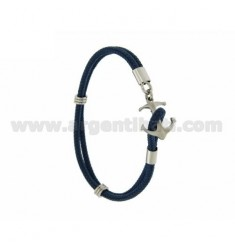 ROPE BRACELET WITH BLUE STEEL LOCKING IN THE SHAPE OF YET