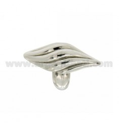 SHUTTLE RING IN STRIPED CROSS IN SILVER RHODIUM 925 TIT SIZE ADJUSTABLE