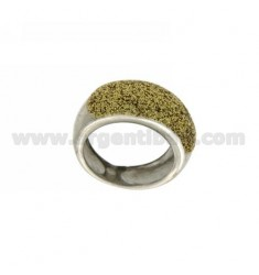 ENAMEL RING WITH GOLD GLITTER SILVER RHODIUM TIT 925 SIZE 13