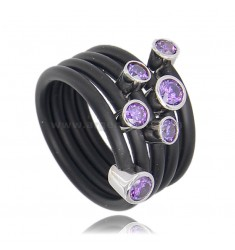 RUBBER RING TUBULAR 5 TURNS WITH CASTONS IN AG TIT 925 ‰ WITH PURPLE ZIRCONIA SIZE 14