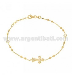 ROSARY BRACELET SILVER GOLD PLATED 925 TIT WITH CROSS AND PARTITIONS IN ZIRCONIA WHITE