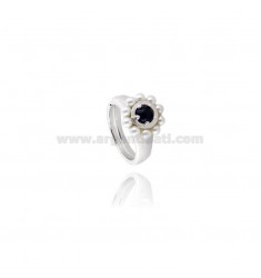 MM 3 RING WITH BEADS AND cabouchon OF ONYX BLACK RHODIUM AG TIT 925 ‰ SIZE ADJUSTABLE