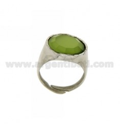 16 MM RING WITH ROUND MOTHER OF PEARL GREEN AG 925 SIZE 18 ADJUSTABLE RHODIUM TIT