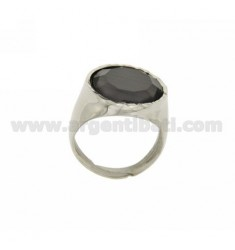 16 MM RING WITH ROUND MOTHER OF PEARL GREY RHODIUM AG TIT 925 ‰ SIZE 18 ADJUSTABLE