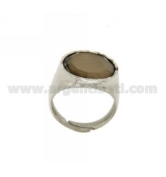 16 MM RING WITH ROUND MOTHER OF PEARL BROWN AG RHODIUM TIT 925 SIZE 18 ADJUSTABLE
