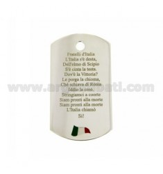Anhänger PLATE MILITÄR MM 50x28 BLATT 1.0 mm mit Hymne und Flagge von Italien SHIRT GLAZED OHNE GEGEN Titel Silber 925 ‰
