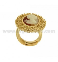OVAL RING WITH CAMEO IN GOLD PLATED IN AG AG TIT 925 ‰ SIZE ADJUSTABLE