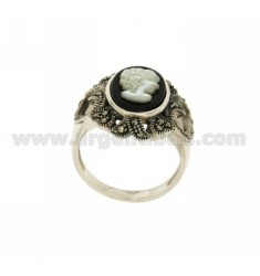 CAMEO RING OF ONYX AND MOTHER OF PEARL AND MARCASITE AG TIT IN SIZE 14 925 ‰