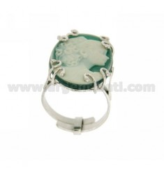 OVAL RING WITH HARD STONE CAMEO IN GREEN AG 925 TIT SIZE ADJUSTABLE