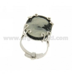 OVAL RING WITH HARD STONE CAMEO IN BLACK TIT AG 925 SIZE ADJUSTABLE