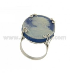 OVAL RING WITH HARD STONE CAMEO IN BLUE TIT AG 925 SIZE ADJUSTABLE