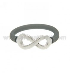 SILICONE RING SILVER COLOR WITH INFINITY SYMBOL IN TIT AG 925