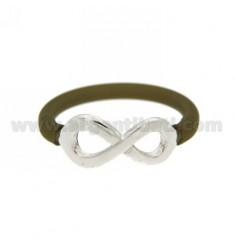 RING SILICONE BROWN greenish WITH INFINITY SYMBOL IN TIT AG 925