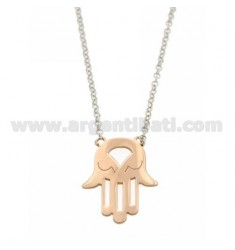 ROLO NECKLACE WITH CENTRAL HAND OF FATIMA IN AG RHODIUM PLATED AND ROSE GOLD TIT 925 ‰ CM 43