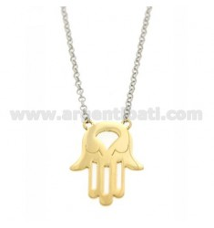 ROLO NECKLACE &39WITH CENTRAL HAND OF FATIMA AG RHODIUM PLATED GOLD AND TIT 925 ‰ 43 CM