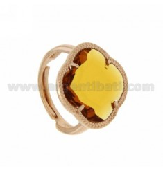 HYDROTHERMAL STONE RING WITH A FLOWER IN TRANSPARENT YELLOW OCRE AG ROSE GOLD PLATED TIT 925