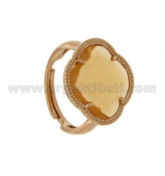 HYDROTHERMAL STONE RING WITH A FLOWER IN YELLOW OCRE AG ROSE GOLD PLATED TIT 925