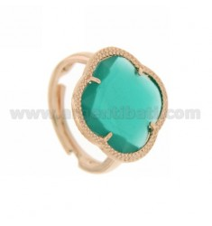HYDROTHERMAL STONE RING WITH A FLOWER IN EMERALD GREEN ROSE GOLD PLATED AG TIT 925