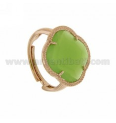 HYDROTHERMAL STONE RING WITH GREEN PEAS IN A FLOWER ROSE GOLD PLATED AG TIT 925