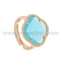 HYDROTHERMAL RING WITH STONE FLOWER IN BLUE ROSE GOLD PLATED AG TIT 925