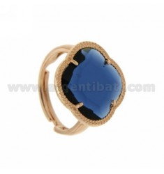 HYDROTHERMAL STONE RING WITH A BLUE FLOWER IN PINK GOLD PLATED AG TIT 925