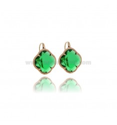EARRINGS GREEN FLOWER TRANSPARENT IN ROSE GOLD PLATED AG TIT 925 AND HYDROTHERMAL STONES