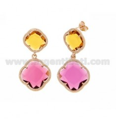 DOUBLE FLOWER EARRING SMALL YELLOW OCRE, BIG RED PINK ROSE GOLD PLATED IN AG 925 TIT AND STONES HYDROTHERMAL