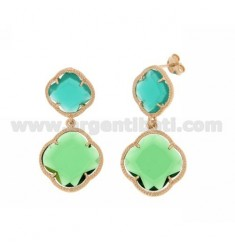 TWO LITTLE FLOWER EARRING EMERALD GREEN, BIG GREEN BOTTLE IN ROSE GOLD PLATED AG 925 TIT AND STONES HYDROTHERMAL