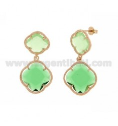 DOUBLE FLOWER EARRING SMALL PASTEL GREEN, BIG GREEN BOTTLE IN ROSE GOLD PLATED AG 925 TIT AND STONES HYDROTHERMAL
