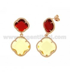 DOUBLE RED FLOWER EARRING SMALL, LARGE CLEAR LEMON YELLOW ROSE GOLD PLATED IN AG 925 TIT AND STONES HYDROTHERMAL