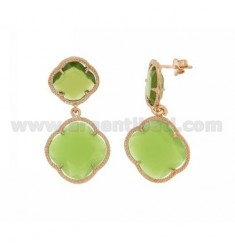 DOUBLE FLOWER EARRING SMALL GREEN PERIDOTT, BIG GREEN PEAS IN ROSE GOLD PLATED AG 925 TIT AND STONES HYDROTHERMAL