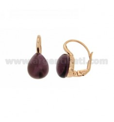 A nun EARRINGS WITH STONE DROP MM 1 PERIDOTT HYDROTHERMAL IN PURPLE ROSE GOLD PLATED AG TIT 925