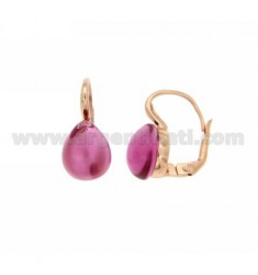 EARRINGS MONACHELLA WITH HYDROTHERMAL STONE DROP MM 1 RED PINK ROSE GOLD PLATED IN AG TIT 925 ‰