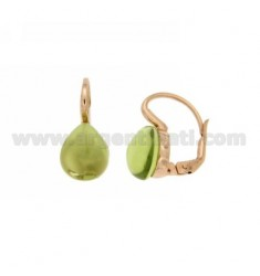 A nun EARRINGS WITH STONE DROP GREEN MM 1 PERIDOTT HYDROTHERMAL AG IN ROSE GOLD PLATED TIT 925