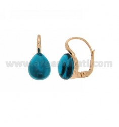 A nun EARRINGS WITH TURQUOISE STONE DROP MM 1 PERIDOTT HYDROTHERMAL AG IN ROSE GOLD PLATED TIT 925