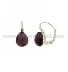 A nun EARRINGS WITH PURPLE STONE DROP MM 1 PERIDOTT HYDROTHERMAL AG IN RHODIUM TIT 925