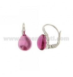 A nun EARRINGS WITH STONE DROP MM 1 RED IN FUCHSIA PERIDOTT HYDROTHERMAL AG RHODIUM TIT 925