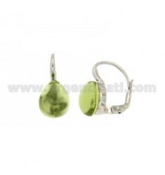 A nun EARRINGS WITH STONE DROP GREEN MM 1 PERIDOTT HYDROTHERMAL AG IN RHODIUM TIT 925