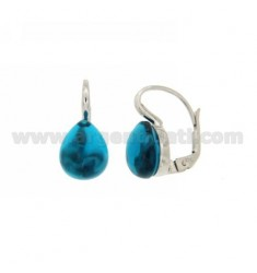 A nun EARRINGS WITH TURQUOISE STONE DROP MM 1 PERIDOTT HYDROTHERMAL AG IN RHODIUM TIT 925