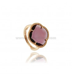 HYDROTHERMAL STONE RING WITH A FLOWER IN PURPLE ROSE GOLD PLATED AG TIT 925